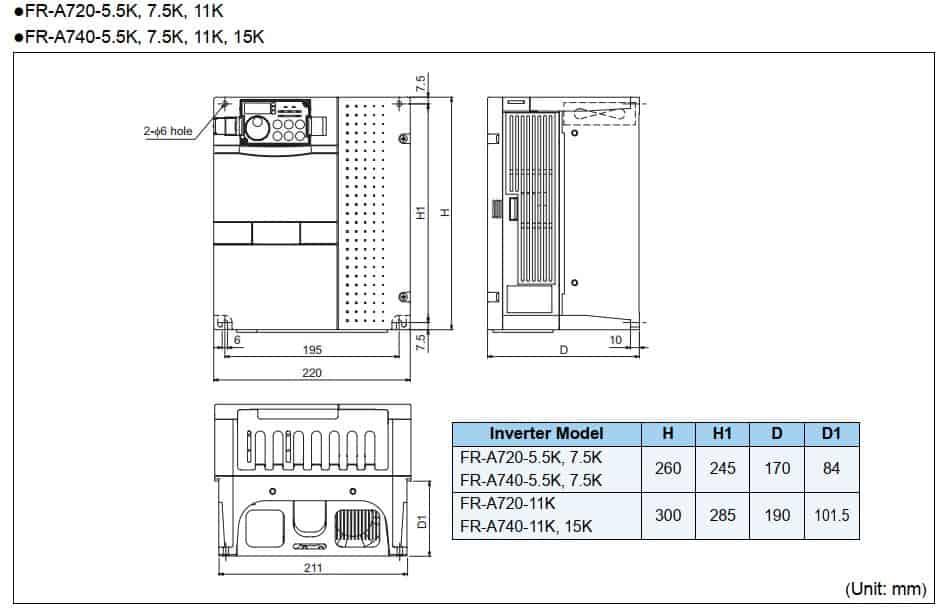 kích thước fr-a720-5.5k