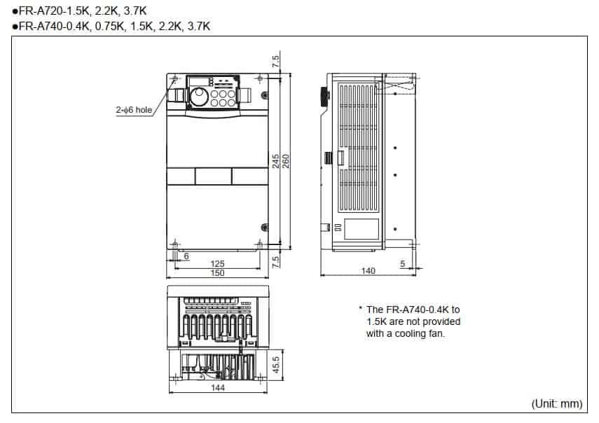 kích thước biến tần fr-a740-1.5k