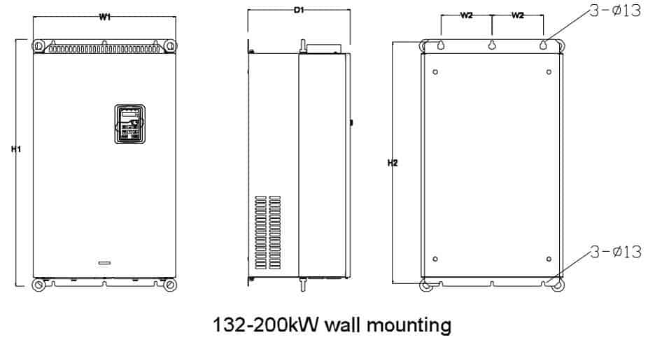 Kích thước GD200A 132-200kw