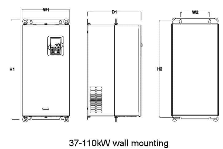 Mô tả kích thước GD200A 37-110kw