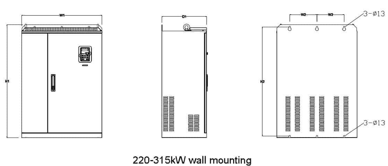 kích thước GD220A 220kw-315kw